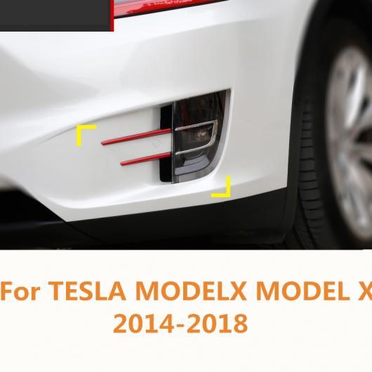 AL 適用: テスラ モデル X 2014-2018 2ピース クローム ABS フロント フォグランプ フレーム 色 ストリップ 装飾 カバー トリム レッド・ブルー AL-EE-7442