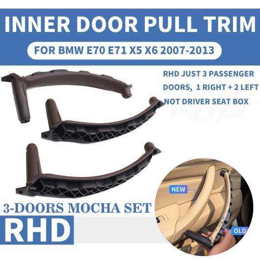 AL RHD 右ハンドル車 インナー ドア プル ハンドル トリム カバー 適用: BMW X5 X6 E70 E71 2007 フロント/リア 左 右 ABS モカ ベージュ レザー 6ピース~レッド ワイン レザー セット AL-EE-8676