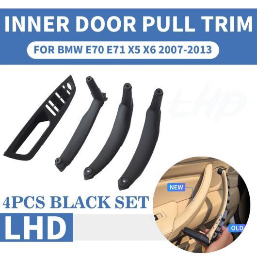AL LHD 左ハンドル車 フロント/リア 左 右 インナー インテリア ドア プル ハンドル トリム カバー 適用: BMW E70 E71 X5 X6 ベージュ リア 左~ブラック リア 右 AL-EE-8704