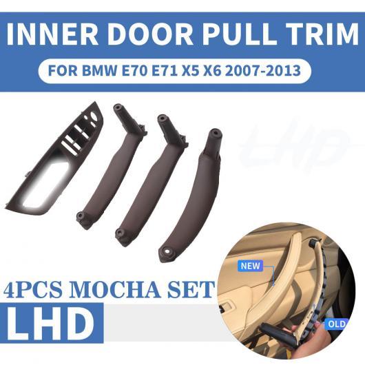 AL LHD 左ハンドル車 フロント/リア 左 右 インナー インテリア ドア プル ハンドル トリム カバー 適用: BMW E70 E71 X5 X6 ベージュ フロント 左・ブラック フロント 左 AL-EE-8706