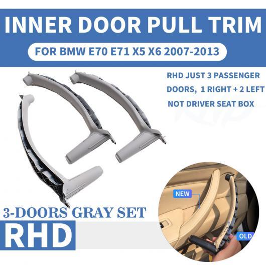AL RHD 右ハンドル車 インナー ドア プル ハンドル トリム カバー 適用: BMW X5 X6 E70 E71 2007 フロント/リア 左 右 ABS グレー ベージュ 左~モカ リア 右 AL-EE-8674