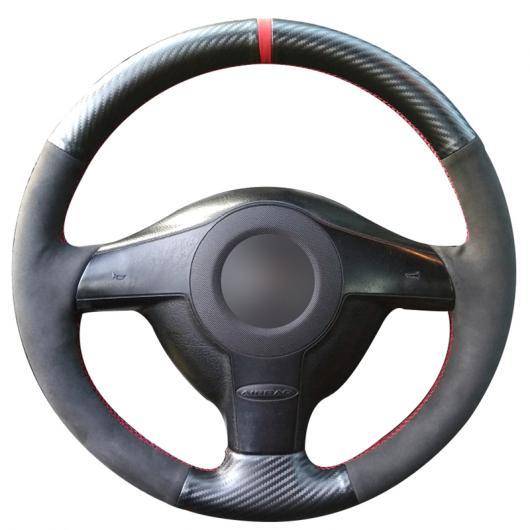 AL ステアリングホイールカバー 編み上げタイプ カーボンファイバー レザー ブラックスウェード 適用: フォルクスワーゲン VW ゴルフ 4 パサート B5 1996-2003 ポロ 1999-2002 レッド 糸 AL-FF-0697