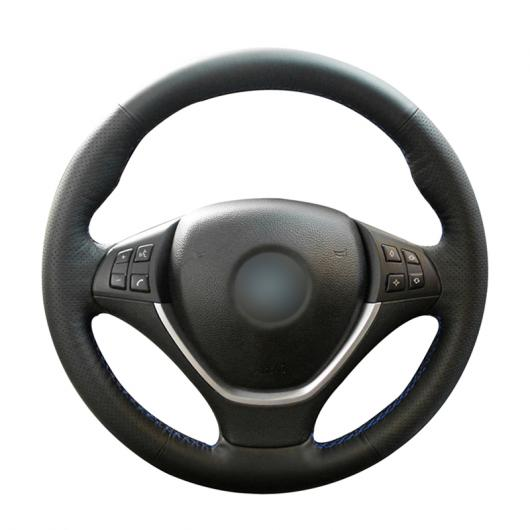 AL ステアリングホイールカバー 編み上げタイプ ブラック カーフスキン レザー 適用: BMW E70 X5 2008-2013 E71 X6 2008-2014 ブラック 糸~グレー 糸 AL-FF-0552