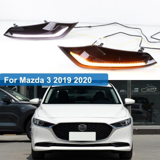 AL 2ピース DRL 適用: MAZDA3 マツダ3 アクセラ 2019 2020 12V LED DRL ドライビング デイタイム ランニング ライト フォグランプ 調光 ターンシグナル スタイル リレー AL-FF-1988