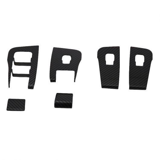 AL カーボンファイバー スタイル ウインドウ コントロール スイッチ パネル カバー トリム 装飾 ステッカー 適用: テスラ モデル 3 2018 2019 ブラック AL-FF-2436