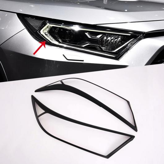 AL 2ピース ステッカー ブラック フロント ヘッド ヘッドライト ライト トリム カバー 装飾 適用: トヨタ RAV4 2019 2020 エクステリア フロント カーボン スタイル・フロント ブラック AL-FF-1357