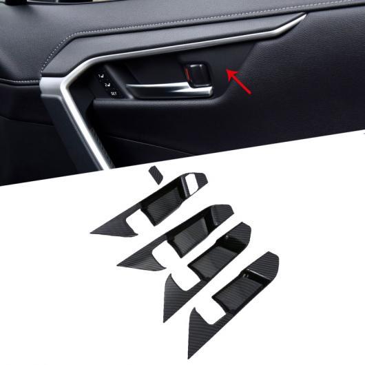 AL バック コンソール ドリンクホルダー カバー トリム カーボン スタイル 1ピース 適用: トヨタ RAV4 XA50 2019 2020 ドア ボウル カバー AL-FF-1538