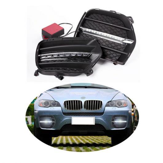 AL ヘッドライト 2ピース LED DRL デイライト 適用: BMW X6 E71 2010 2011 2012 デイタイム ランニング ドライビング ライト デイ フォグライト ランプ AL-FF-1544