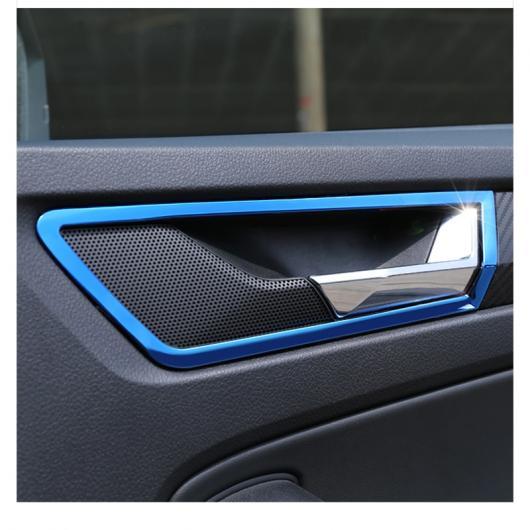 AL ステンレス スチール インナー ドア ボウル フレーム トリム 適用: シュコダ コディアック インテリア モールディング ブルー~模様 ブラック AL-FF-3624
