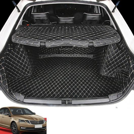 AL レザー トランク マット カーゴ ライナー 適用: シュコダ オクタヴィア A7 2015 2016 ブラック レッド ワイヤー・Bブラック ベージュ ワイヤー AL-FF-4165