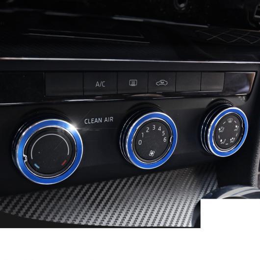 AL エアコン コントロール ボタン リング 適用: シュコダ 光沢 ブラック 3ピース~レッド 3ピース 2016-2020 スペルブ・2015-2020 オクタヴィア AL-FF-4174