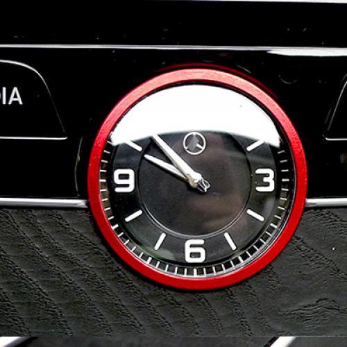 AL ABS ダイヤモンド インテリア 時計 リング トリム 適用: メルセデス ベンツ S クラス S320 S400 S600 レッド AL-FF-4527