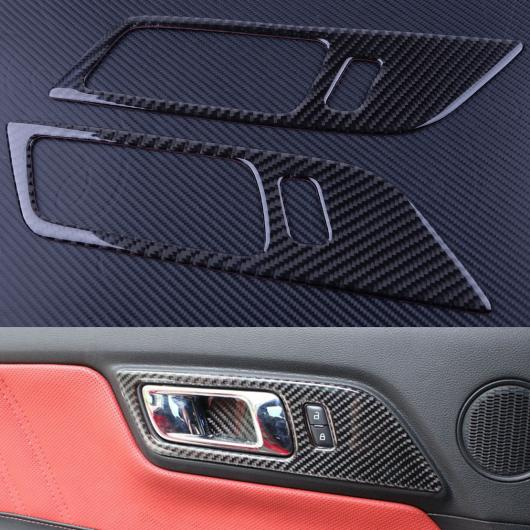 AL 2ピース ブラック カーボンファイバー インテリア ドア ハンドル オーバーレイ カバー トリム 適用: フォード マスタング 2015 2016 2017 2018 AL-FF-6179