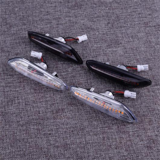 AL 2ピース アンバー LED サイド マーカー ライト ターンシグナル ライト インジケーター 適用: BMW E46 E60 E61 E81 E82 E83 E88 E90 E91 E92 E93 ブラック・クリア AL-FF-6359