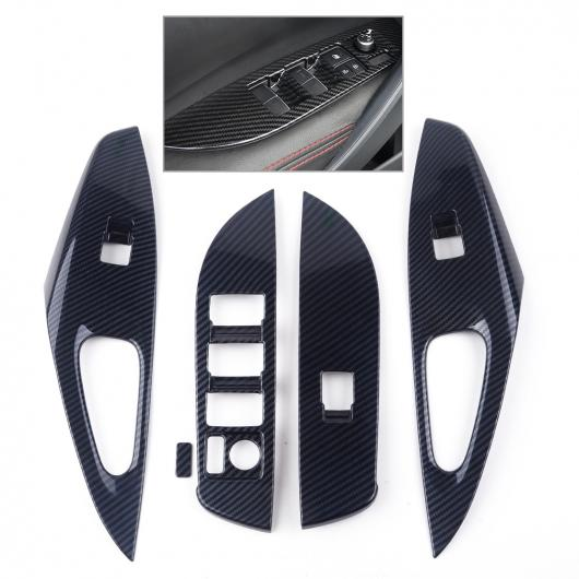 AL 4ピース カーボンファイバー スタイル ドア アームレスト ウインドウ スイッチ カバー トリム フレーム モールディング 適用: トヨタ カローラ ハッチバック 2019 AL-FF-6625