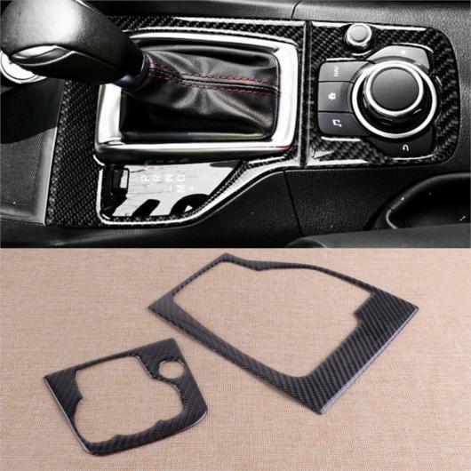 AL 2ピース エポキシ カーボンファイバー ブラック インナー ギア シフト パネル フレーム カバー トリム 適用: マツダ 3 アクセラ 2013 2014 2015 2016 AL-FF-6845