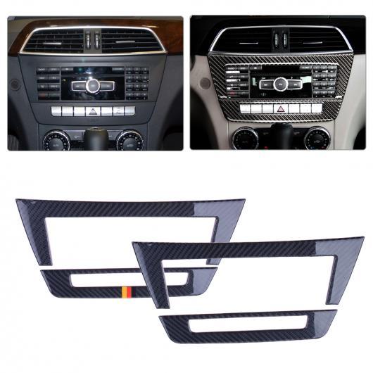 AL 2ピース セントラル コントロール CD パネル インテリア ステッカー カバー トリム フレーム 装飾 適用: メルセデス ベンツ W204 2010 クラシック スタイル・ドイツ スタイル AL-FF-7039