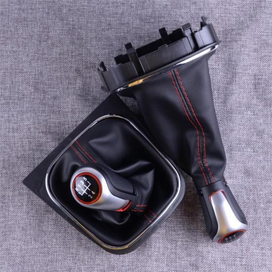AL 5/6速 ブラック レッド PU ギア シフト ノブ ブーツ カバー アクセサリー 1.4cm 適用: VW フォルクスワーゲン ゴルフ 6 MK5 MK6 6速・5速 AL-FF-7211