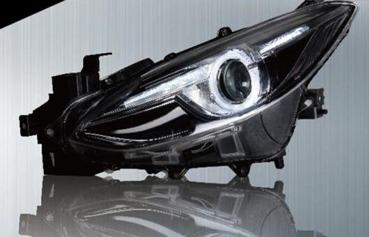 AL 適用: マツダ アクセラ ヘッドライト 2014 LED ヘッドランプ DRL プロジェクター H7 HID バイキセノン レンズ 4300K~8000K 35W・55W AL-HH-0305