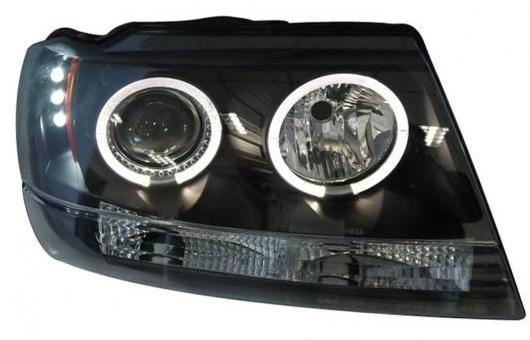 AL 適用: ジープ/JEEP グランドチェロキー ヘッドライト 99-04 LED DRL レンズ ダブル ビーム H7 HID キセノン BI 4300K~8000K 35W・55W AL-HH-0369