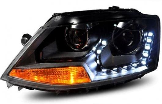 AL 適用: VW フォルクスワーゲン/VOLKSWAGEN ジェッタ 2012-2015 LED ヘッドライト ヘッドランプ エンジェル アイ DRL H7 HID バイキセノン レンズ ロー ビーム 4300K~8000K 35W・55W AL-HH-0416