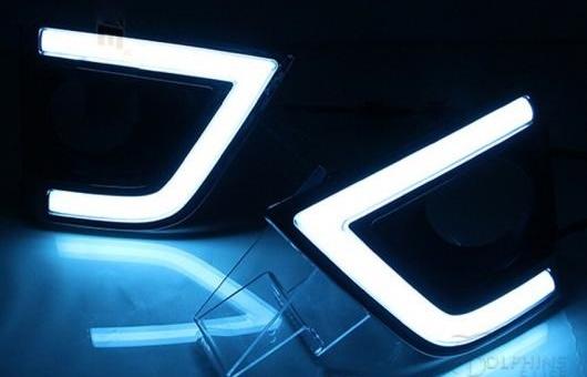 AL 12V デイタイムランニングライト 適用: トヨタ カローラ 2014 2015 LED DRL ターンシグナル フォグランプ ホール スーパー ブライト C ホワイト AL-HH-0571