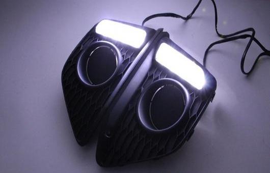 AL DRL 適用: ホンダ フィット ジャズ 2013-2014 サード 世代 デイタイムランニングライト LED フォグ ランプ ホワイト AL-HH-0604