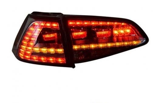 AL 4ピース 適用: VW フォルクスワーゲン/VOLKSWAGEN ゴルフ 7 テールライト 2013-2014 LED テール ランプ + ターンシグナル ブレーキ リバース ライト レッド AL-HH-0806