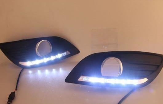AL 2 ピース ABS デイタイム ランニング DRL 適用: フォード/FORD フォーカス フォグライト フロント ランプ オート 35W ホワイト 5500K AL-HH-0828