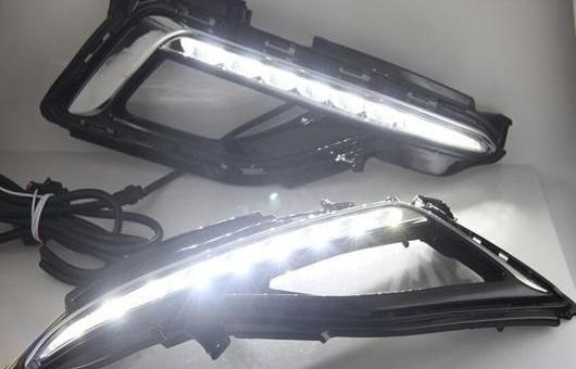 AL 適用: ヒュンダイ/現代/HYUNDAI ソナタ 2014-2017 LED DRL フォグ ランプ デイタイム ランニング 高光度 ガイド ライト B スタイル 35W ホワイト 5500K AL-HH-0846