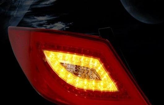 AL 適用: ヒュンダイ/現代/HYUNDAI ヴェルナ LED テールライト 2011-2015 テール ライト リア ランプ DRL + ブレーキ パーク シグナル レッド AL-HH-1148