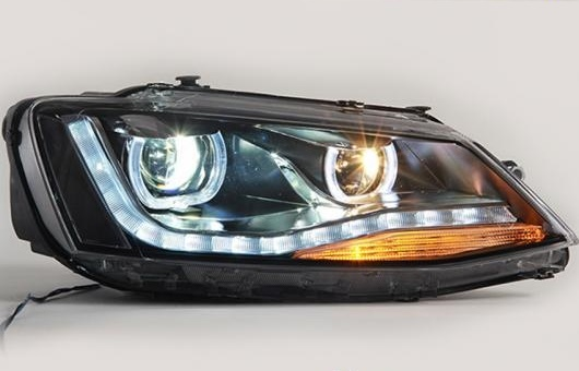 AL 適用: VW フォルクスワーゲン/VOLKSWAGEN ジェッタ ヘッドライト 2012-2016 LED GIT ヘッドランプ エンジェル アイ DRL H7 HID R20 バイキセノン レンズ 4300K~8000K 35W・55W AL-HH-1159