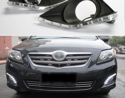 AL 適用: トヨタ カローラ 2010 2009 2008 2007 防水 ABS 12V DRL LED デイタイムランニングライト フォグランプ ホール AL-HH-1390