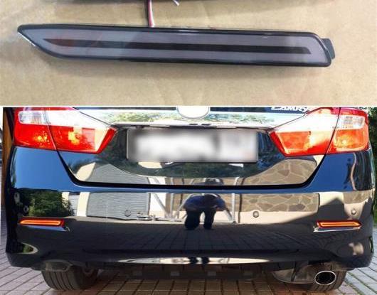 AL 2ピース 適用: トヨタ ヴァーソ 2011-2015 LED リア フォグランプ バンパー ライト オート ブレーキ リフレクター ダイナミック ターン シグナル 3 ファンクション ブラック・レッド AL-HH-1415