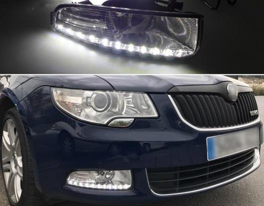 AL 適用: シュコダ スペルブ 2010-2013 スーパー 輝度 防水 ABS DRL 12V LED デイタイムランニングライト フォグランプ カバー AL-HH-1421