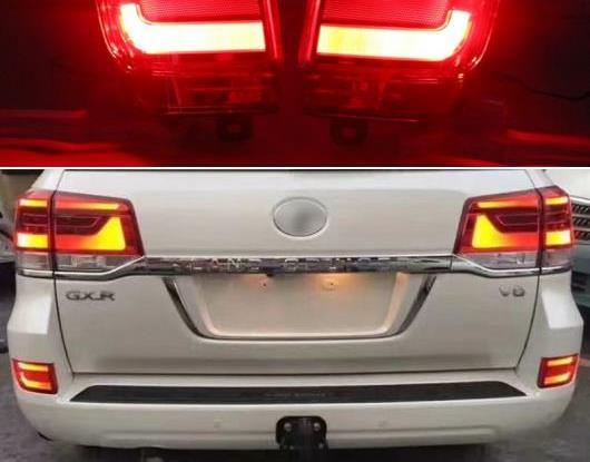 AL 2ピース 適用: トヨタ ランドクルーザー FJ200 LC200 2016 2017 2018 LED リア フォグランプ バンパー ライト オート ワーニング ライト リフレクター AL-HH-1556