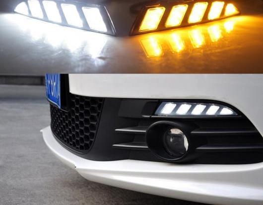 AL 適用: フォルクスワーゲン/VOLKSWAGEN シロッコ 2011 2012 2013 2014 2015 イエロー ターンシグナル リレー 防水 12V LED DRL デイタイムランニングライト AL-HH-1567
