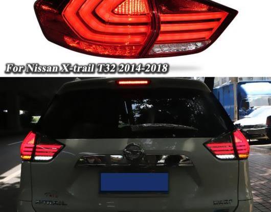 AL LED テールライト テールライト 適用: 日産 エクストレイル T32 2014-2018 リア ランニング ライト + ブレーキ ライト + リバース + ターンシグナル ライト ブラック・レッド AL-HH-1602