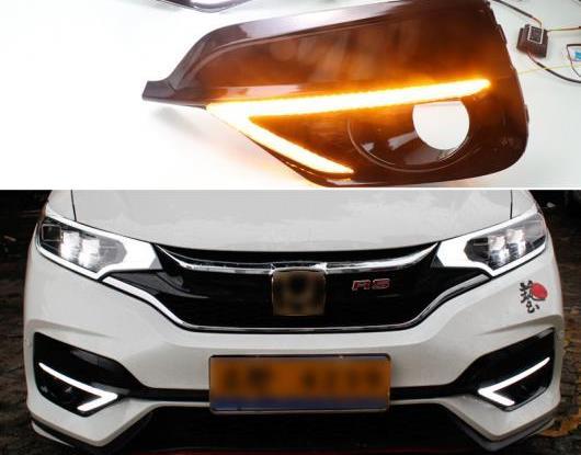 AL 2ピース 適用: ホンダ ジャズ スポーツ RS 2018 2019 ターン イエロー シグナル リレー 防水 DRL 12V LED デイタイムランニングライト フォグランプ AL-HH-1641