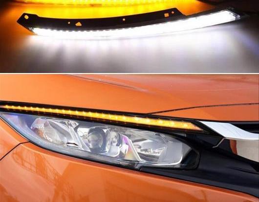 AL 2ピース ヘッドライト アイブロー 装飾 ダイナミック イエロー ターンシグナル DRL LED デイタイムランニングライト 適用: ホンダ シビック 2016 2017 2018 AL-HH-1668