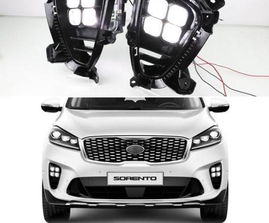 AL 2ピース 適用: 起亜 ソレント 2018 2019 プラグ プレイ 12V DRL 防水 LED デイタイムランニングライト LED フォグランプ デイライト AL-HH-1696