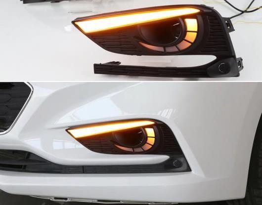 AL 2ピース LED デイタイムランニングライト 適用: シボレー/CHEVROLET クルーズ 2016 2017 2018 ダイナミック イエロー ターンシグナル リレー 防水 12V DRL ランプ AL-HH-1697