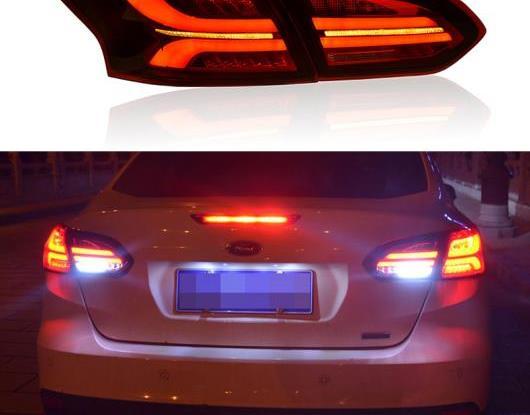 AL LED テールライト テールライト 適用: フォード/FORD フォーカス 3 MK3 セダン 2015-2018 リア フォグランプ + ブレーキ ライト + リバース + ダイナミック ターンシグナル ブラック・レッド AL-HH-1712