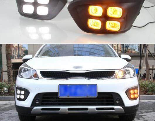 AL 適用: 起亜 リオ X-LINE X ライン 2017 2018 2019 イエロー ターンシグナル 防水 ABS DRL 12V LED デイタイムランニングライト LED フォグランプ AL-HH-1736