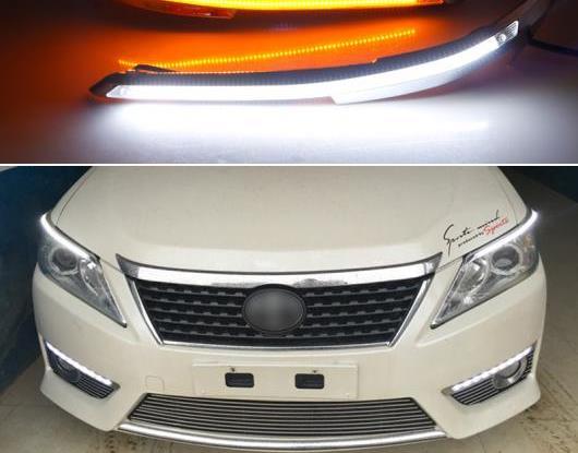 AL 2ピース ヘッドライト アイブロー 装飾 イエロー ターンシグナル DRL LED デイタイムランニングライト 適用: トヨタ カムリ V50 XV50 2012 2013 2014 AL-HH-1772