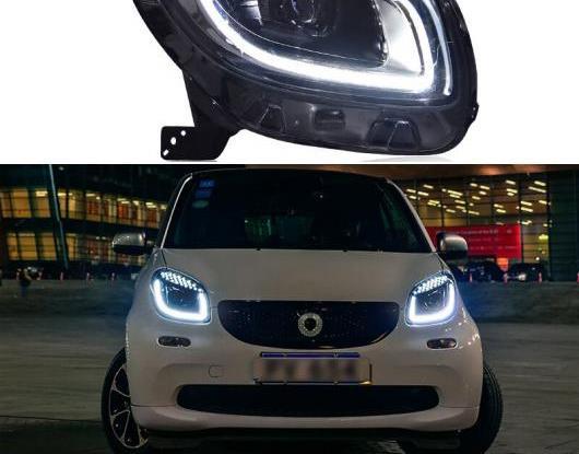 AL LED ヘッドライト 適用: メルセデスベンツ/MERCEDES BENZ スマート/SMART フォーツー用 2015 2016 2017 2018 LED DRL アイブロー ヘッド ランプ アセンブリ スタート ブルー AL-HH-1796