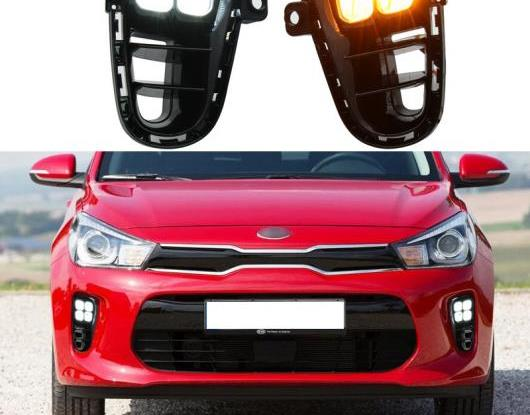 AL 2ピース 適用: 起亜 リオ K2 2018 2019 2020 イエロー ターンシグナル 防水 ABS DRL 12V LED デイタイムランニングライト LED フォグランプ AL-HH-2013
