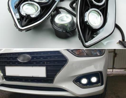 AL オート LED フォグランプ 適用: ヒュンダイ/現代/HYUNDAI ソラリス アクセント 2017 2018 2019 2020 DRL ランプ 防水 ABS 12V LED デイタイムランニングライト AL-HH-2043