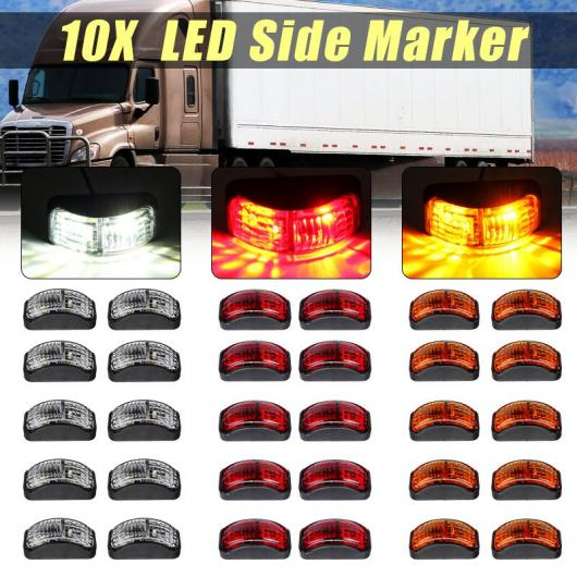 AL 10ピース LED トラック サイドマーカーライト ランプ シグナル インジケーター 12V 24V E マーク 適用: トレーラー バン ローリー ホワイト~イエロー AL-HH-2062