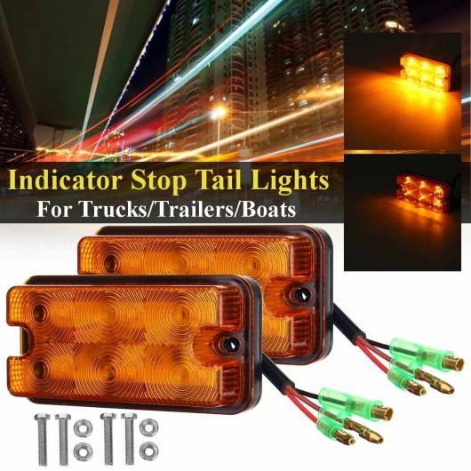 AL 2ピース 12V-80V 6 LED ターンシグナル インジケーター ストップ テール ライト ワーニング ライト リバース ランプ 適用: トラック トレーラー ボート ヨット AL-HH-2121